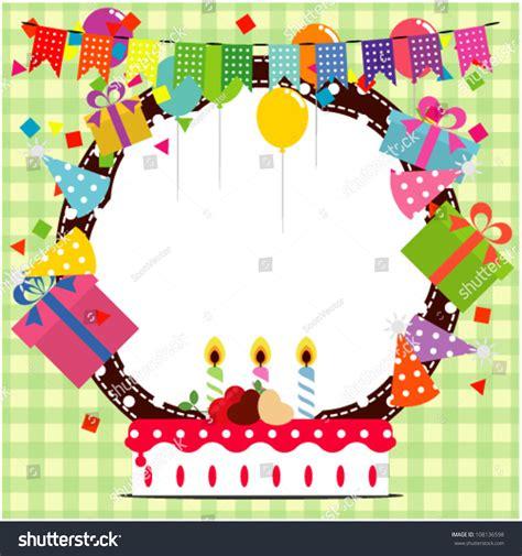 frame design for birthday birthday frame ballooncake party hat element stock vector