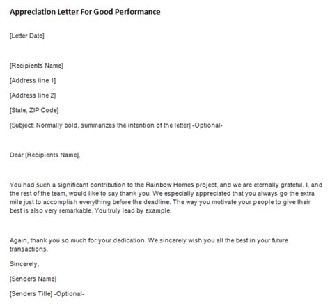appreciation letter performance appreciation letter for performance writing