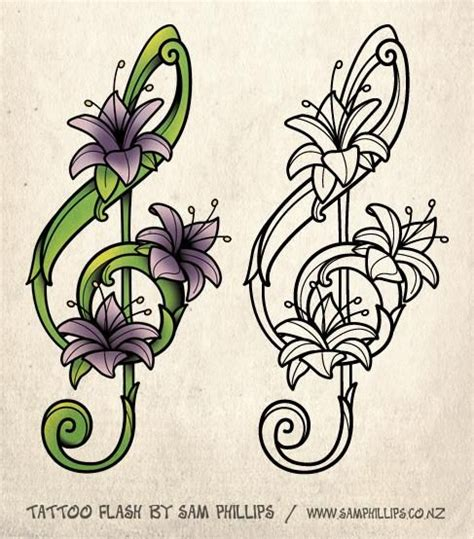 flower tattoo notes flower drawings for tattoos designed this musical note