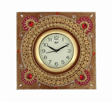 Handcrafted Wall Clocks - buy craftszilla handcrafted rajasthani wooden wall clock