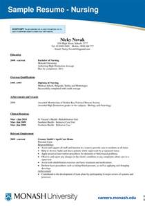 Resume Templates For Nursing Students by Sle Nursing Assistant Resume Nursing Nursing Student