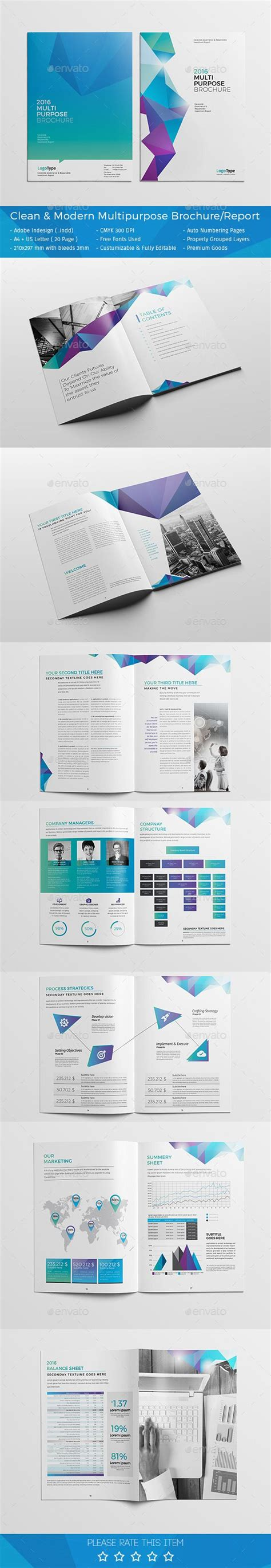 layout template graphicriver clean modern multipurpose brochure report template
