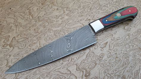 damascus kitchen knives damascus kitchen knives set with leather sheaths