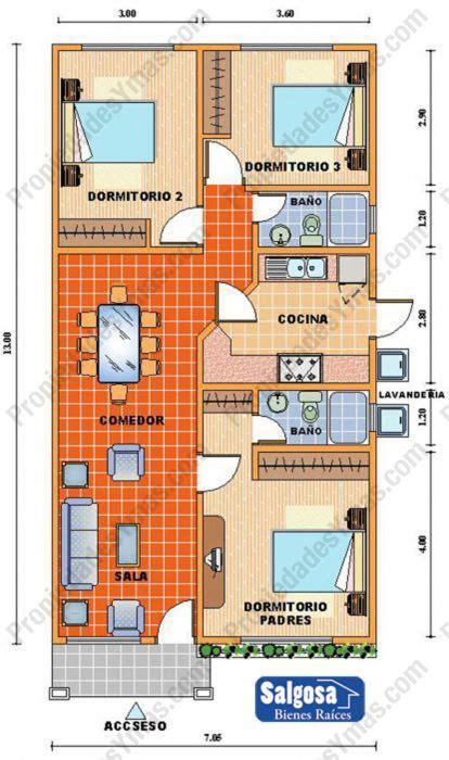 Full House Floor Plan modelos y planos de casas 1 piso 3 dormitorios barriles