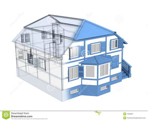 plan extension maison 3148 3d sketch of a house royalty free stock photography