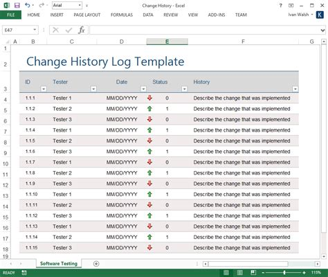 Change History Log Template Ms Excel Software Testing Template Excel Log Template