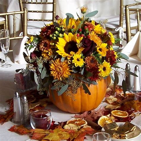 pumpkin bouquet centerpieces wedding flowers fall wedding centerpiece made of silk flowers in faux pumpkin fall wedding