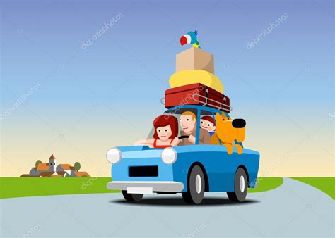 google imagenes de vacaciones la familia se va de vacaciones en coche vector stock