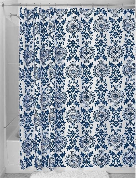 Navy Blue Patterned Curtains Navy Blue Shower Curtains In 10 Awesome Patterned Designs Rilane