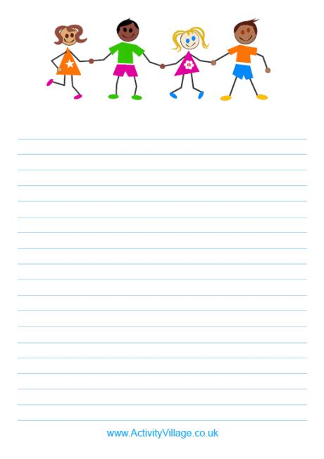 Paper With Children - colourful writing paper