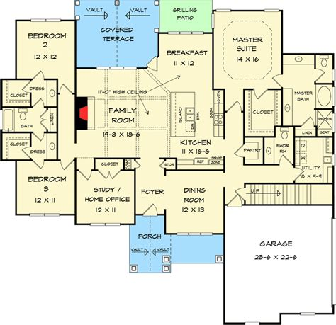 split bedroom floor plan craftsman house plans with split bedrooms