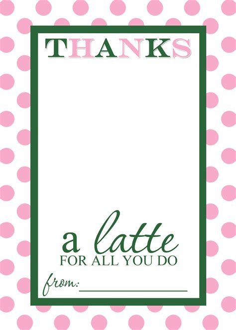appreciation cards template appreciation gift idea thanks a latte free