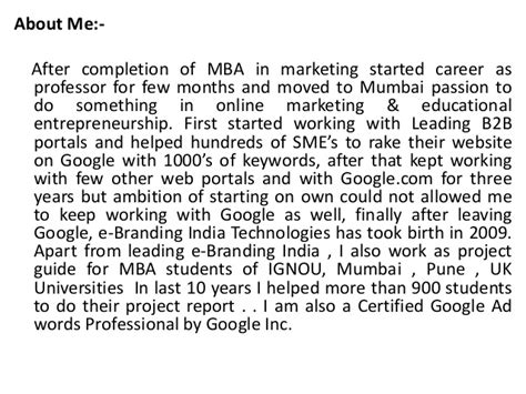 Marketing In Mumbai For Mba Experienced by Project Report Titles For Mba In Marketing