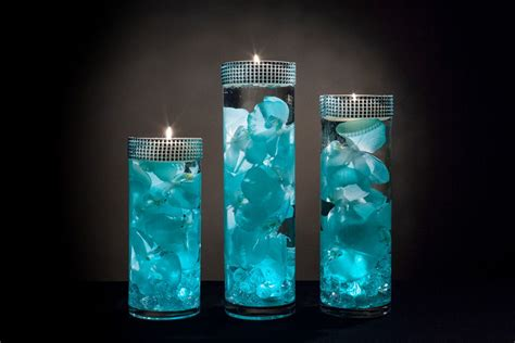 Teal Floral Centerpieces With Led Lights And Floating Candles Led Light For Centerpieces