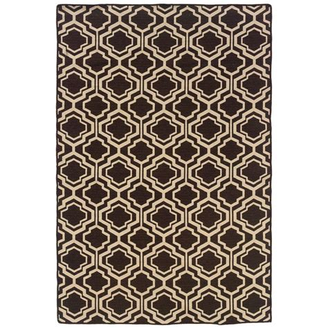 Quatrefoil Area Rug Linon Home Decor Salonika Db Quatrefoil Brown 5 Ft X 8 Ft Area Rug Rug Sa1158 The Home Depot