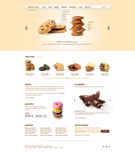 Cookie Website Template Delecioussary Cookies Website Template Psd