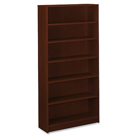 hon 1870 series laminate bookcase 6 shelves mahogany by