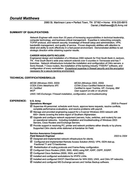Resume Summary Exles Technical Information Technology Resume Exles Berathen