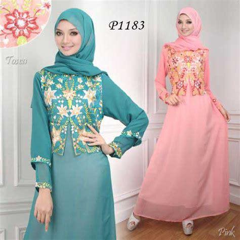 New Gamis Baloteli Bunga Sulam baju muslim pesta bordir p1183 sifon busana gamis modern