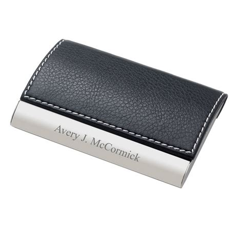 Business Card Holder Engraved Gift - personalized designer leatherette business card holder