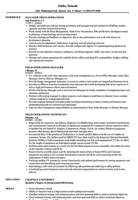 resume exles for field field operations resume sles