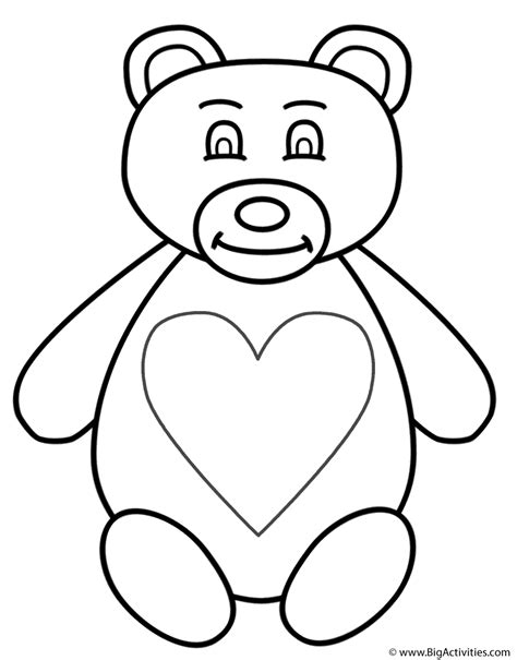 coloring pages of teddy bears with hearts teddy bear with large heart coloring page animals