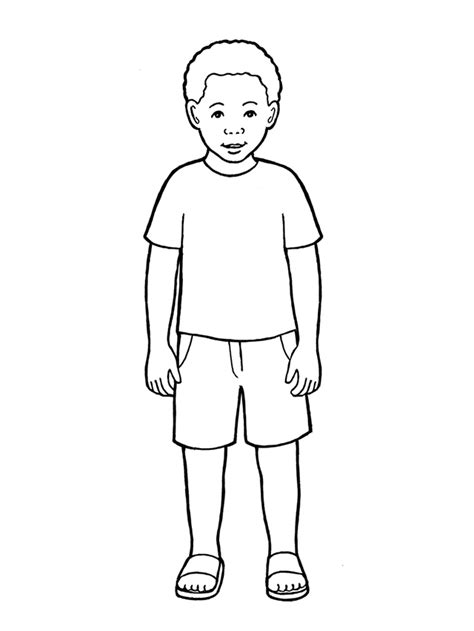 how to draw boy primary boy standing