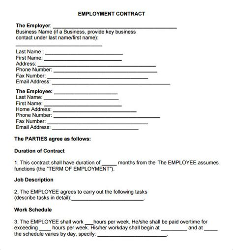 work agreement contract template employment contract 7 free pdf doc sle