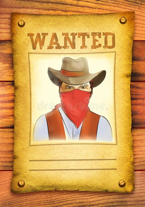 wanted woodworker wanted poster with bandit in mask stock