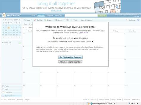 Windows Live Calendar 2007 November