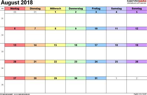 Kalender 2018 Excel Quer Kalender August 2018 Als Excel Vorlagen