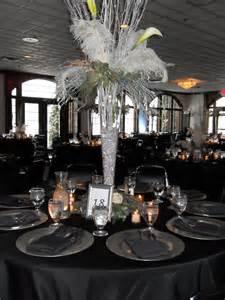 black and silver wedding centerpieces feathered centerpiece black and silver wedding