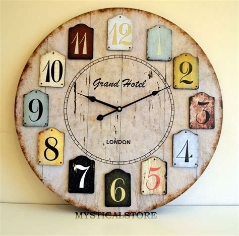 large shabby chic wall clock 40cm large wood wall clock vintage retro antique