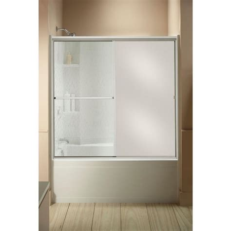Mirrored Shower Doors Sterling Standard 59 In X 56 7 16 In Framed Sliding Tub And Shower Door In Silver With