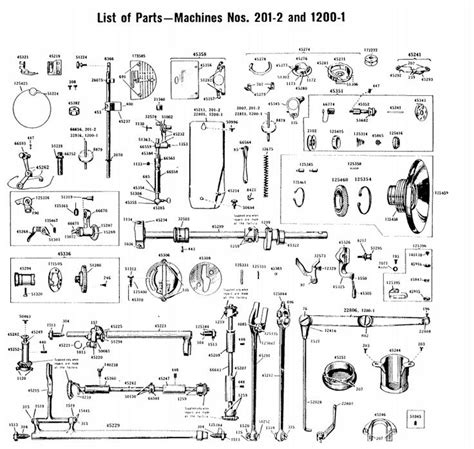 sewing machine diagram parts list for singer 201 2 singer 201 sewing machine