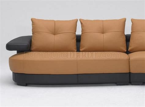 two tone couch black and brown two tone full leather modern sectional sofa