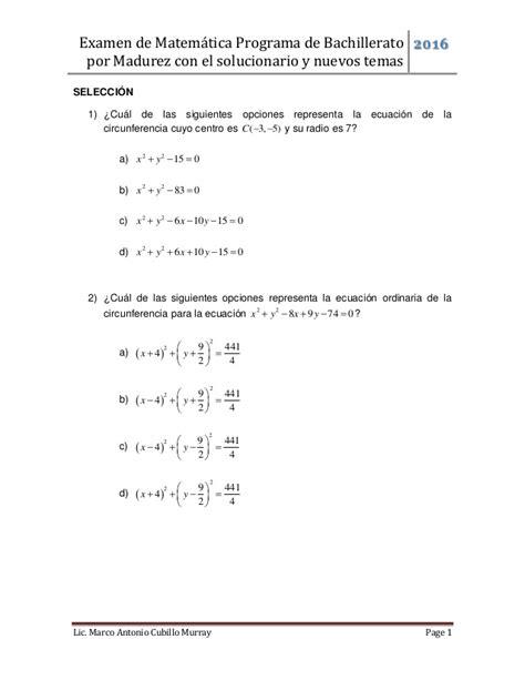 mt 1 matematicas bachillerato examen matem 225 tica bachillerato por madurez 01 2016