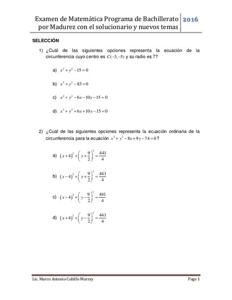 preguntas de matematicas en examen de admision examen matem 225 tica bachillerato por madurez 01 2016