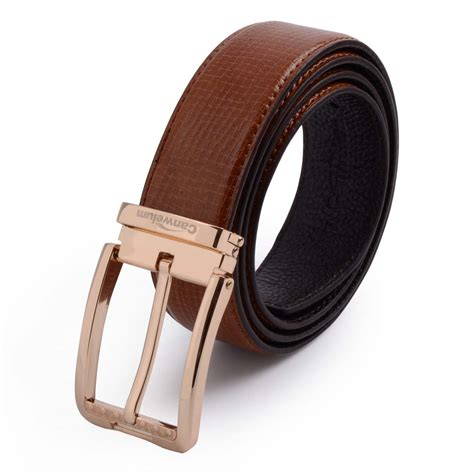 canwelum genuine mens leather belt brown leather belt for