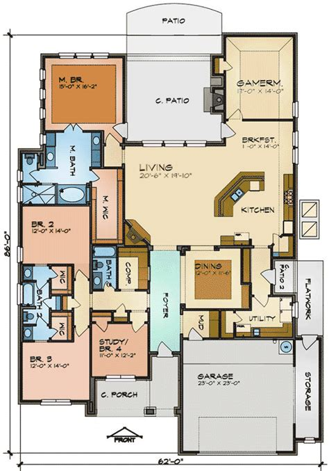 game room floor plans ideas one floor house plan with game room 36932jg 1st floor