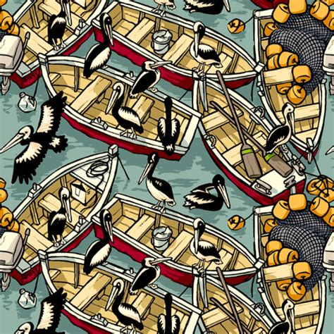 pelican boat material boats pelicans fabric raul spoonflower