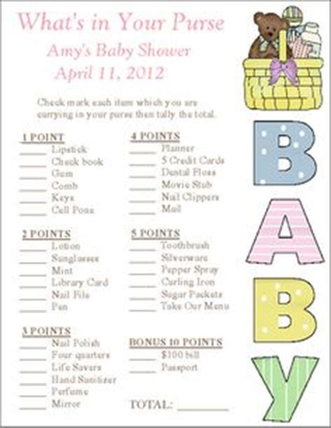 what in your purse bridal shower template 1000 images about baby shower on baby shower baby showers and