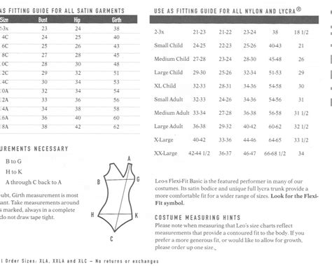 curtain call costumes size chart costume size charts