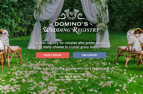 can i do a wedding registry domino s now offers a wedding registry for couples who can at least agree on pizza adweek