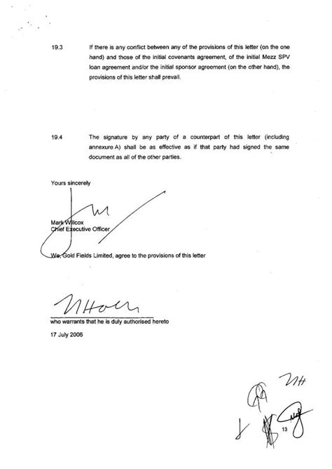 Loan Covenant Letter Tokyo Sexwale S Tokyo Sexwale Juiy 2006 Willcox S Willcox 17 July 2006