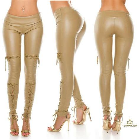 pantalones cuero comprar pantalones efecto cuero con lazos beige