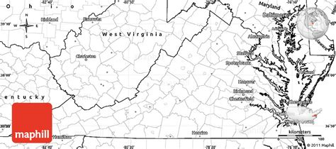 map united states showing west virginia blank simple map of virginia