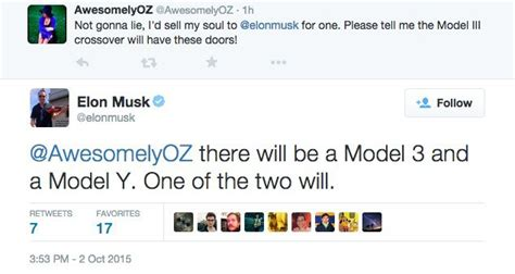 elon musk tweet tesla model y might also have falcon wing doors