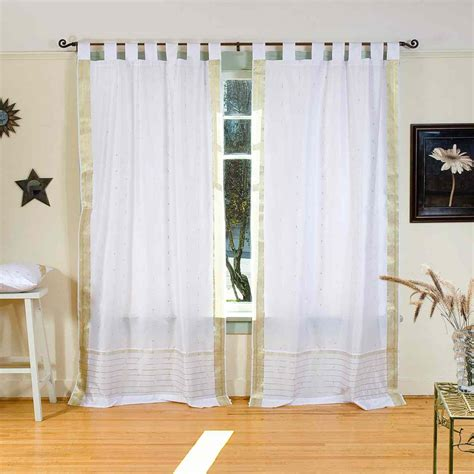 tab top curtain panels white with gold tab top sheer sari curtain drape panel