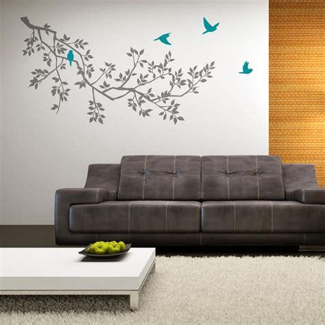 zazous wall stickers zazous grey branches with turquoise birds wall sticker turquoise grey and